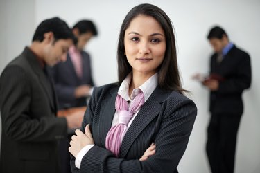 Portrait of businesswoman, selective focus