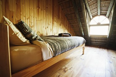 Bed in a small room