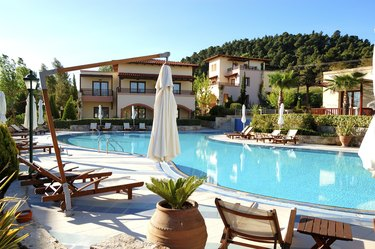 """Swimming pool at the modern luxury hotel, Halkidiki, Greece"""