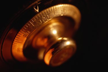 Combination lock, close-up