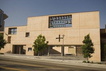 Facade of a modern church, Los Angeles, California, USA