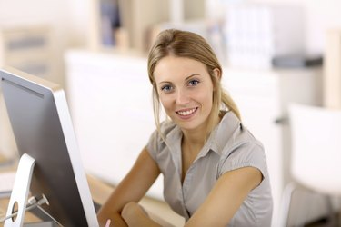 Smiling blond office worker