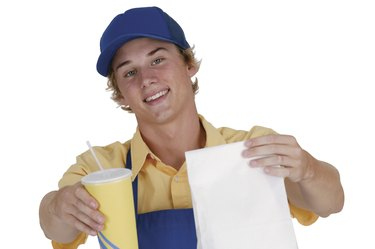 Teenage fast food employee