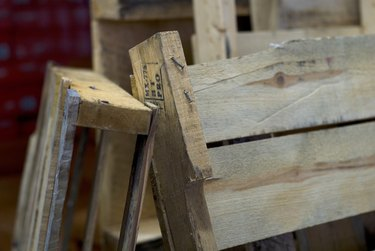 Close-up of wooden pallets