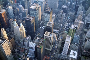Aerial view of skyscrapers in New York City
