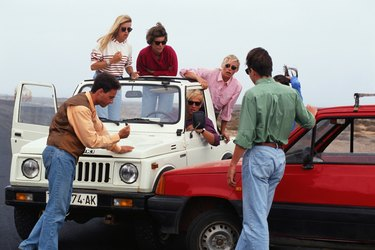 Group of people, car accident