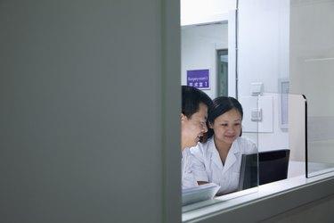 Veterinarians looking at computer screen
