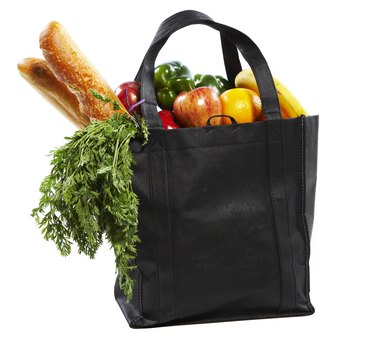 Bag of groceries on white background