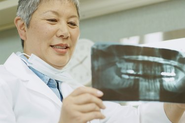 Senior Asian female dentist looking at x-rays