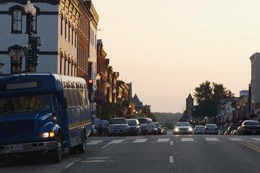 Traffic on the road at dusk, Washington DC, USA