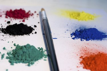 Pigments colors and paintbrush
