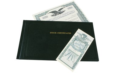 Stock certificate and leather holder