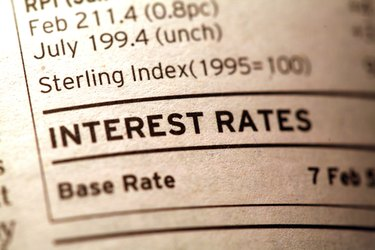 Interest rates section in newspaper