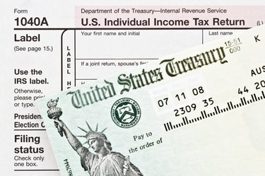 Tax form and refund check