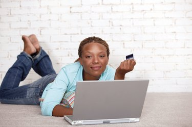 Woman purchasing online