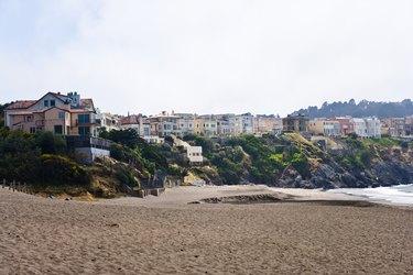 Houses along beach in San Francisco, California