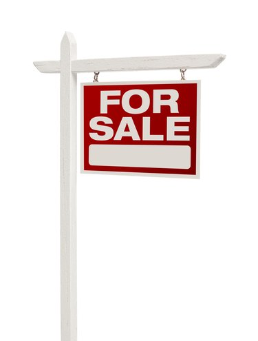 For Sale Real Estate Sign on White with Clipping Path