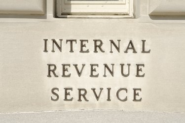 Sign on Main IRS Building in Washington, DC, United States