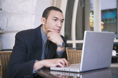 businessman on computer