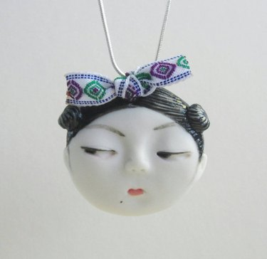 Dai Li Jewellery — Little head Face Handmade Porcelain Ceramic Pendant Necklace