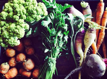 Vegetables from produce box