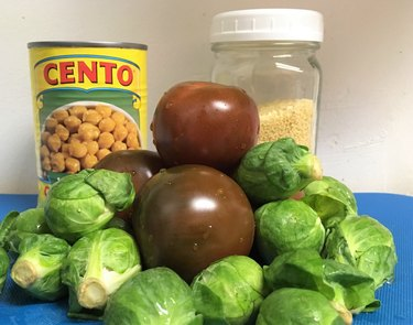 beans cous cous tomatoes brussel sprouts