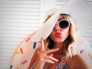 Fashionable young woman duckfacing