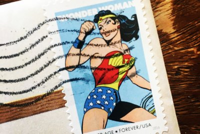 Used Forever Stamp depicting Wonder Woman