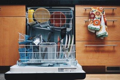Open loaded dishwasher