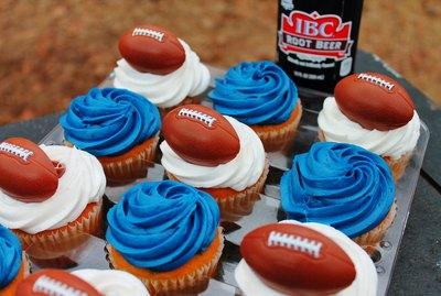New England Patriots-themed cupcakes