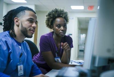 Nurses using computer