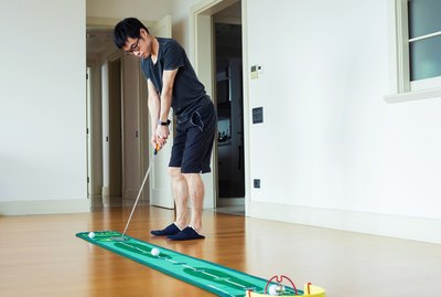 Playing mini golf at home