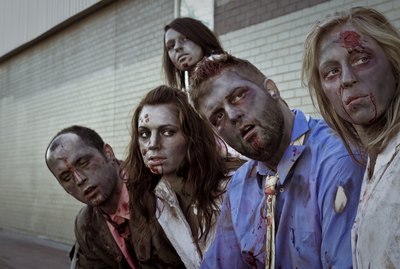 5 zombies staring at something off camera