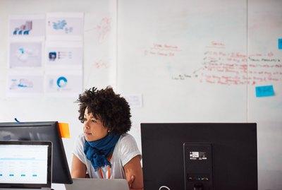 Businesswoman at desk working on computer