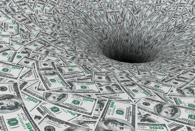 Crisis Concept. Money Flow in Black Hole
