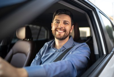 Portrait of driver smiling
