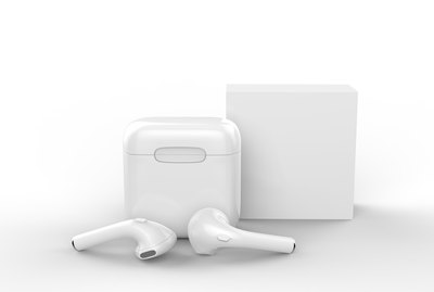 Blank promotional wireless earbuds with box package. 3d render illustration.