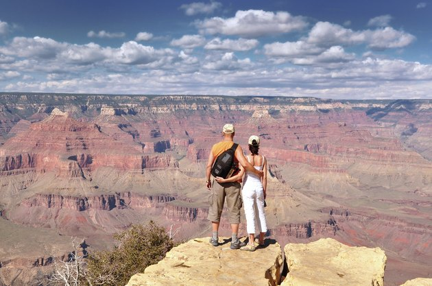 Couple Enjoying Beautiful Grand Canyon Landscape