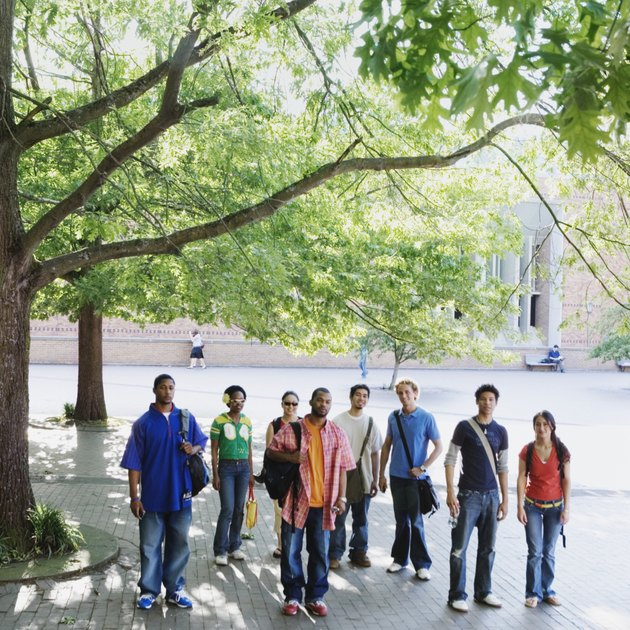 Group of college students standing together