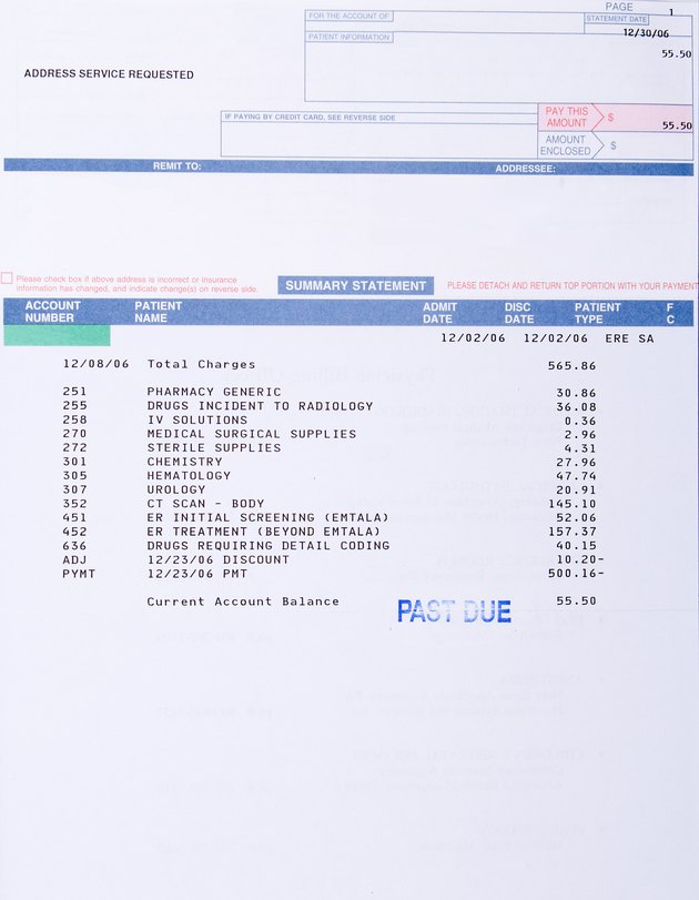 "Paper Medical Bill CT Scan Marked ""Past Due"", Health Care"