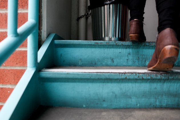 Shoes climbing teal steps