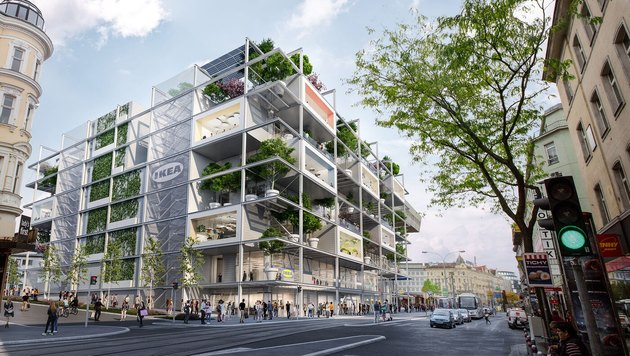 Concept art of new IKEA in Vienna