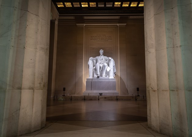 Interior of deserted Lincoln Memorial