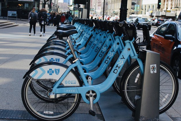 Receding rows of rentable blue bicycles in Chicago