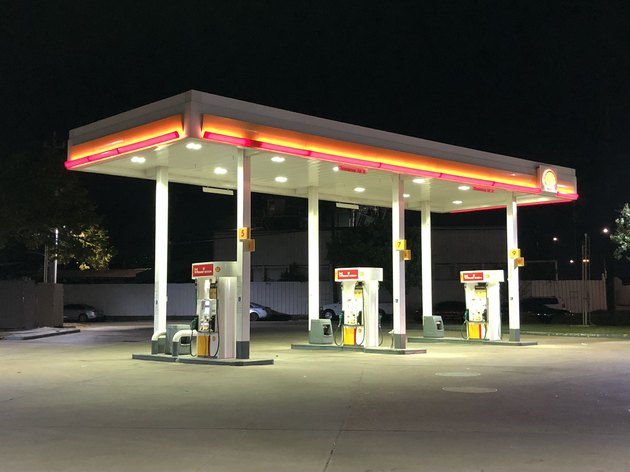 Gas Station at Night in Houston, Texas.