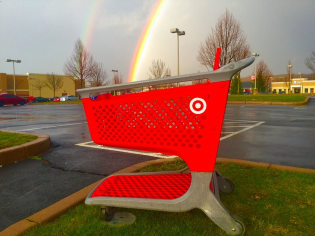 Double rainbow ending in Target shopping cart