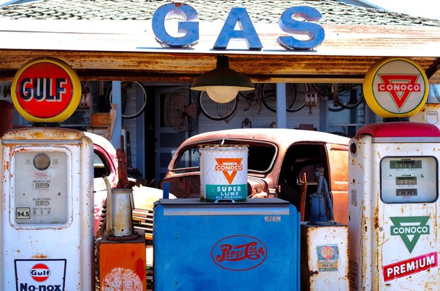 Vintage gas station with vintage truck