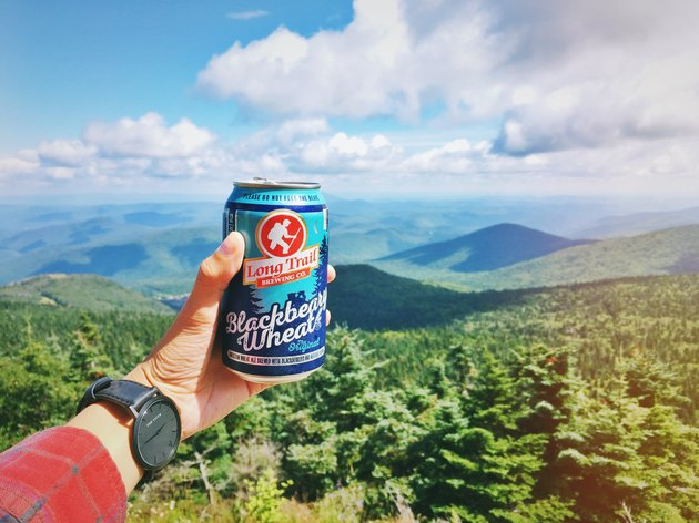 Hand holding out a craft beer can in front of Vermont valley