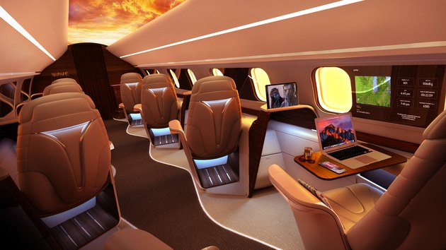 Interior rendering of an Aura private jet