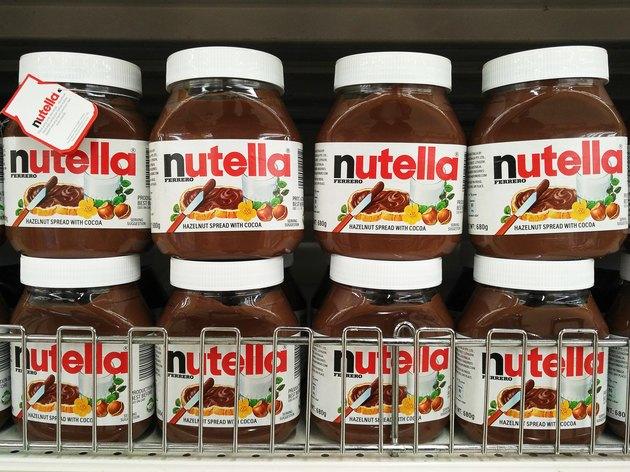 Stacks of Nutella jars